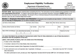 New Employment Eligibility Verification Form I 9  Prior Employment Verification Form