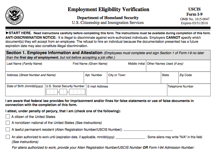 New Employment Eligibility Verification Form I-9 | Das Hr